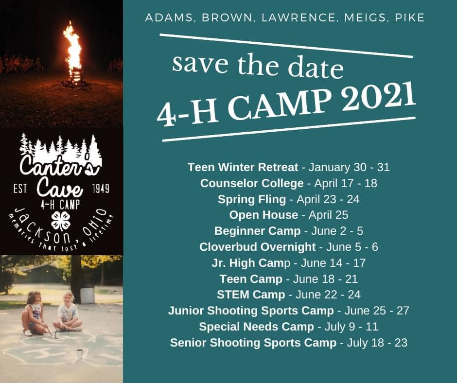 ABLMP Canter's Cave 4-H Camp Dates 2021
