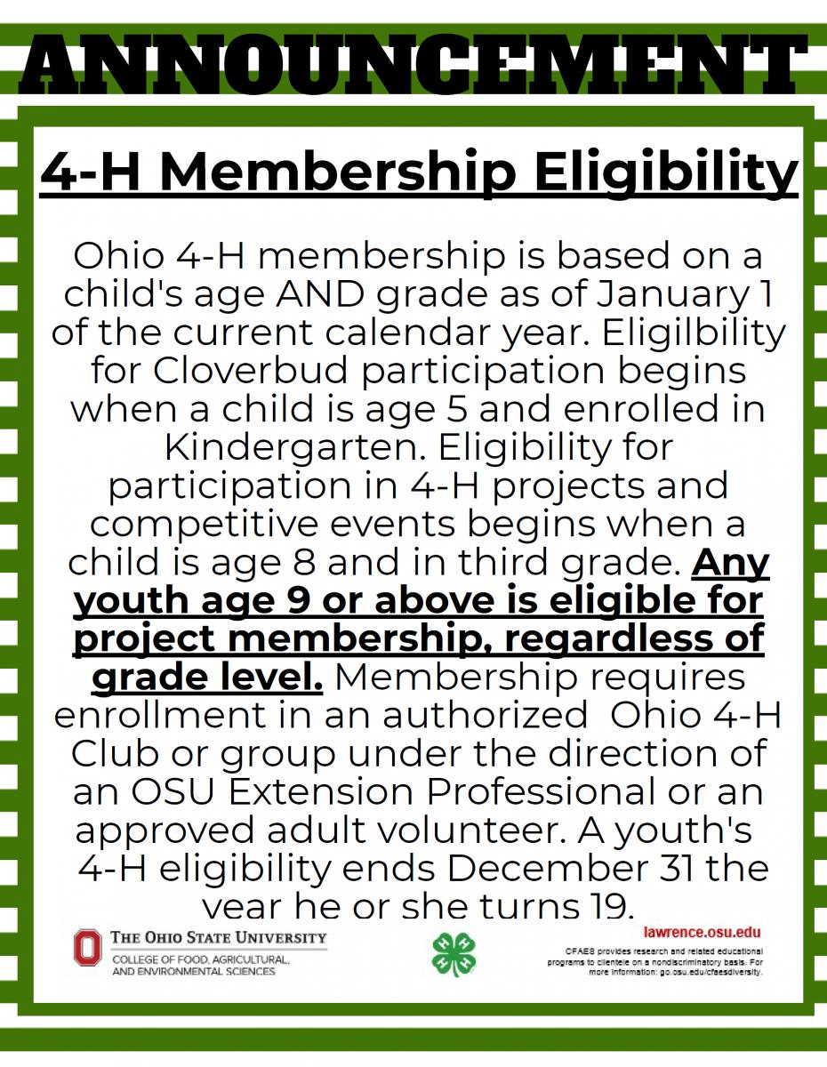 4-H Membership Eligibility
